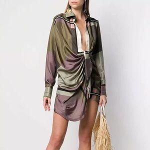 Geo Faux Tie Lapel Collar & High Waist Mini Dress